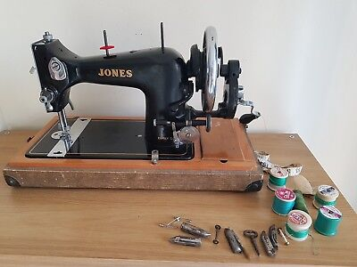 Vintage JONES Sewing Machine hand cranked with cover and accessories