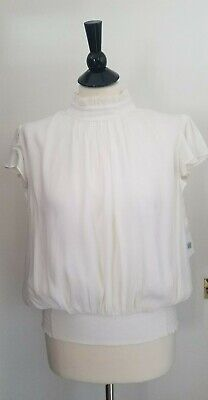 507f730bf6f10 NWT WOMEN S FRAME Smocked Ruffle Sleeveless Blouse in Off White Size ...