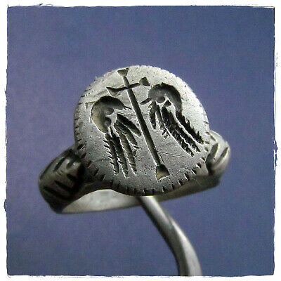 ** CROSS between EAGLE WINGS** ancient Silver BYZANTINE or late ROMAN RING !