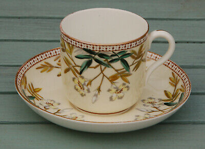 Antique EJD BODLEY CHINA AESTHETIC MOVEMENT PAINTED FLORAL CUP & SAUCER c1870s