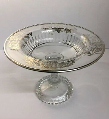 Rare, Vintage/antique American Heisey Sterling Silver Overlay Strawberry Tazza
