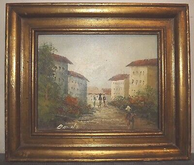 Vintage oil on canvas board painting framed Cityscape signed Bandi