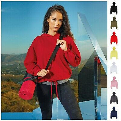 Womens Ladies Cropped Oversized Hoodie Sweatshirt Gym Top Workout Dance Fitness