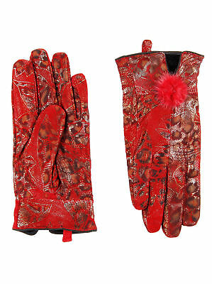 Women 100% soft Red Leopard Print Winter Vintage Style Genuine Leather Gloves