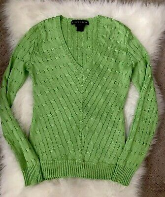 453dbb2a03d8c6 Ralph Lauren Black Label Silk V Neck Mitered Cable Knit Sweater Size Small