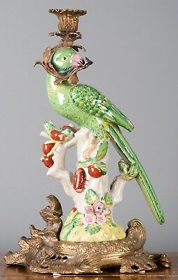 Set of Two Oriental Bronze Ormolu Parrot  Birds Porcelain Candle Holders,15''H.