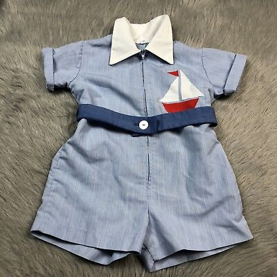 Vintage Toddler Boys Florence Eiseman Blue White Striped Sailboat Romper