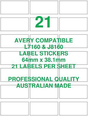 Avery L7160 & J8160 Compatible Address Shipping Labels Stickers 21 X 10 Sheets