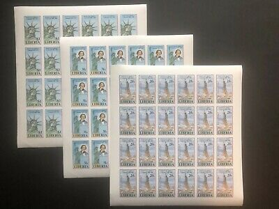 1986 Liberia 1046-1048 (3) IMPERF SHEETS of 25 Stamps Statue of Liberty  MNH