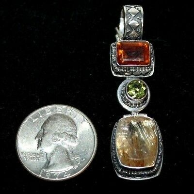 Lori Bonn Sterling Silver Vintage Necklace Pendant Multi Gem Stones 925 3 Drop