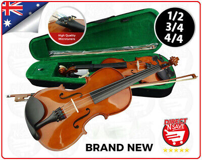Violin Acoustic 1/2 3/4 4/4 Natural Wooden Bow Rosin String Case Set Student NEW