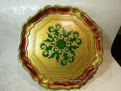 Florentine Wooden Italy Hand Painted Green Red Gold Tray Vanity Décor