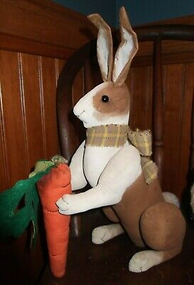 Primitive Hand Made Brown Dutch Bunny Rabbit Doll Carrot ~Spring Easter Folk Art