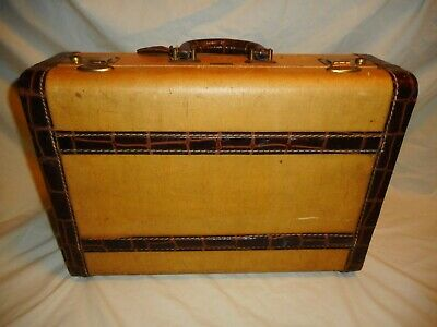 "Vintage Tweed Alligator Leather Suitcase LEEDS Small 18"" Luggage Decor Prop"
