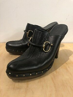 e7346ba02d9 GUCCI BLACK LEATHER Clogs W  Horsebit   Studded Wood Platform Shoes ...