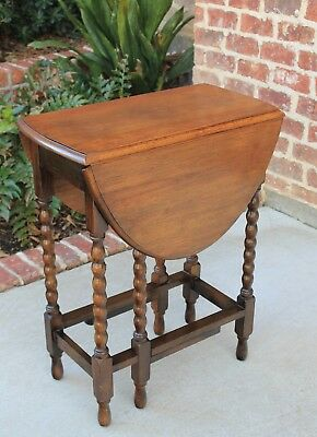 Antique English Oak Drop Leaf OVAL Gate Leg BOBBIN TWIST Table PETITE Slim