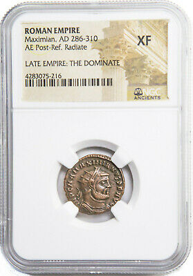 Ancient Roman Emperor Maximian Coin, NGC Certified XF & Story