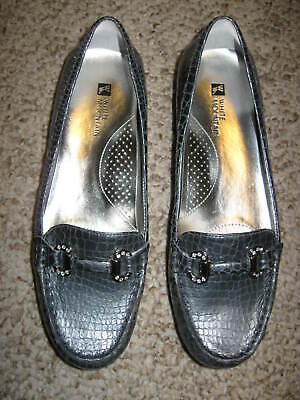 a188eb1b6e5 White Mountain Prize Leather Croc Embossed Moccasins Pewter Loafer Flats 8M