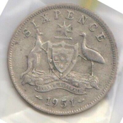 (H121-7) 1951 AU 6 pence 50% silver coin (G)