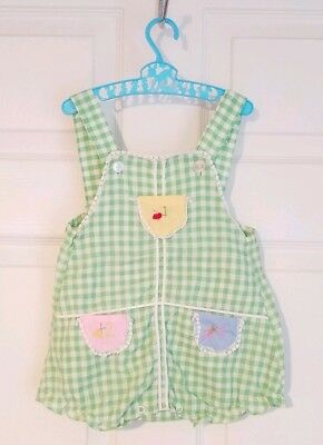 Vintage Green Gingham Embroidered Overall Romper Shortall Sz. 18 Mo Girl's