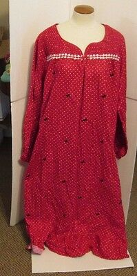 5245b290dc LAURA SCOTT LARGE FLANNEL PAJAMAS NIGHT SHIRT GOWN NWT WOMENS RED DOTS bows  +