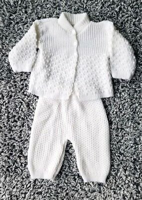 Vintage Baby 2 Piece Sweater Set Pants Outfit  White Knit Gender Neutral