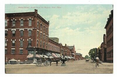 ~1910 KENT OHIO Water Street North From The Square DPPC MAIN ST. Water Trough OH