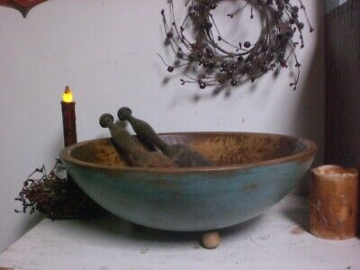 Early Wooden Large Footed Dough Bowl - Wood Farmhouse Bowl