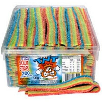 200 x TNT RAINBOW SOUR STRAPS BELTS BULK LOLLIES CANDY BUFFET SWEETS PARTY