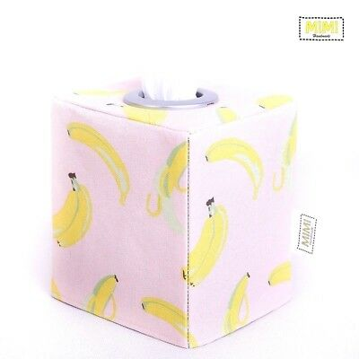 Modern Handmade Tissue Box Cover Kids Nursery Bathroom TROPICAL PINK BANANAS