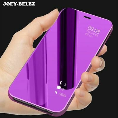 Flip Case Samsung Galaxy J4 J6 J8 A5 A6 A7 Stand Leather Clear View Mirror Cover