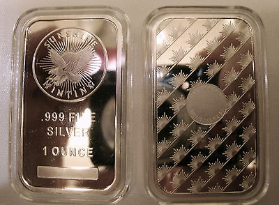 *REAL* (2)-1 oz- SUNSHINE MINT 999 FN SILVER EAGLE BARS-Great Gift & Investment!