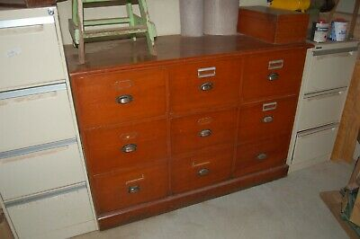 vintage solid wood wooden mid-century Filing Cabinet 3 drawer mid-century timber