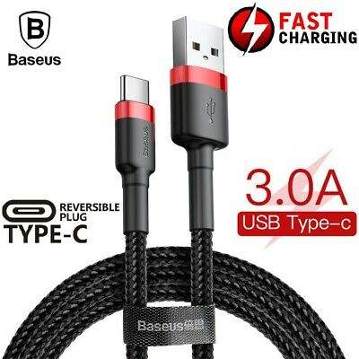 BASEUS 1M 2M USB TYPE C Fast Charging Data Sync Cable Cord Galaxy S10 Plus S10E