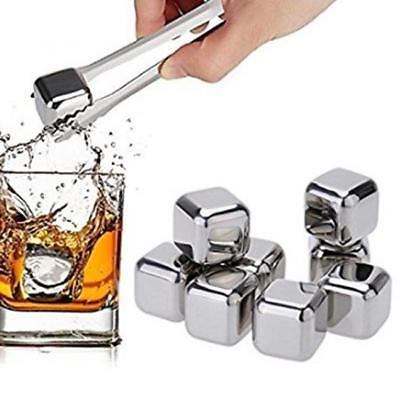 Whiskey Wine Stone Ice Cube Reusable Drink Cooler Whisky Stainless Steel Rocks