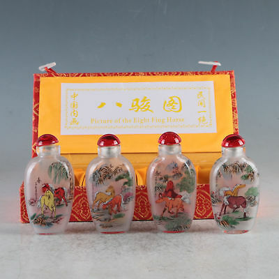 4P EXQUISITE INSIDE HAND Hand PAINTING GLASS Hand-Painted Horses Snuff Bottles
