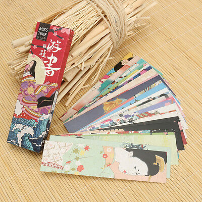 30x Paper Bookmark Vintage Japanese Style Book Mark Tag Label For Kid Ssupply SO