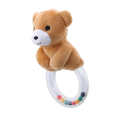 Baby Hand Grip Rubber Ring Bell Toy Animal Round Ring Colored Beads Rattle SO