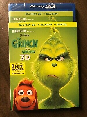 Dr.Seuss' The Grinch 2018/19 3D Blu Ray + Blu-ray Canada w SlipCover LOOK