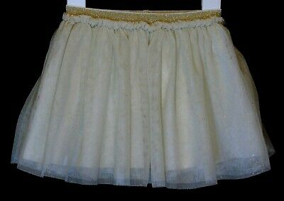 Baby Girls Very Beige Gold Sparkly Mesh Layered Lined Skirt Age 12-18 Months