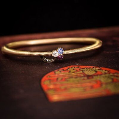Imperial Russian Sapphire, Ruby & Diamond Clover Bangle 14k Gold c1890