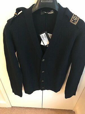 51ecee202b2ea 100% Authentic Love Moschino Wool Blue Army Cardigan Size S RRP £ 390