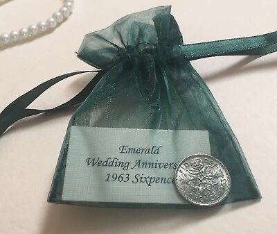 1964 Sixpence in Organza Bag - Emerald (55th) Wedding Anniversary Year Gift/Card