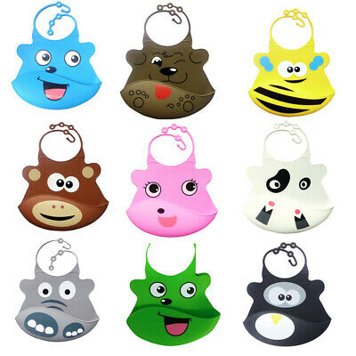 Cute Baby Soft Silicone Bib Waterproof Saliva Dripping Kids Infant Lunch Bibs