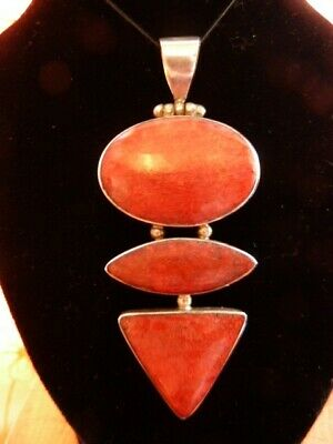 Vintage Indian Silver And Burnt Orange Pendant