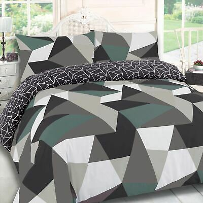 Dreamscene Geometric Shapes Duvet Cover Pillowcase Bedding Set Black Green White