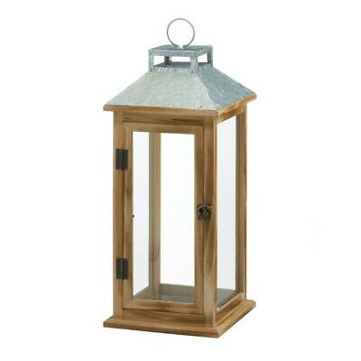 Lot of 6 Wooden Candle Lantern w/ Galvanized Metal Pitched Roof Top, Glass Panes