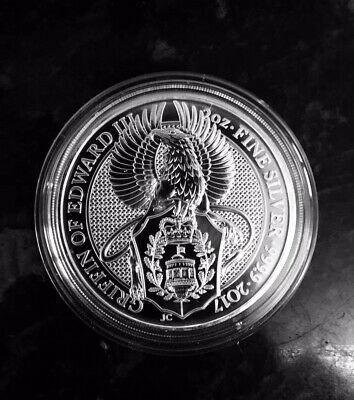 2oz Queens Beast Griffin of Edward 2017 999.9 Fine Silver Coin BU