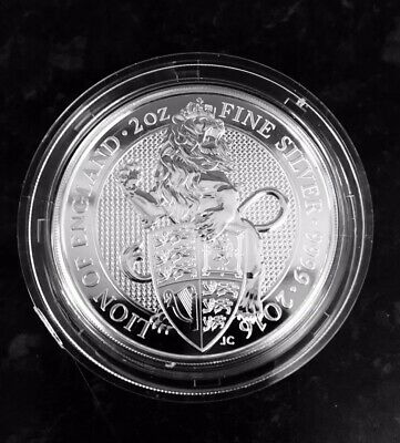2oz Queens Beast Lion of England 2016 999.9 Fine Silver Coin