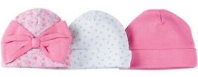 ac4338201 GERBER NEWBORN BABY GIRL'S 3-Pack Cotton Caps Hats - FLOWERS - Pink - NWT
